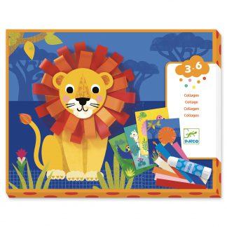 djeco collage met krullen leeuw