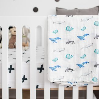 lulujo swaddle bamboo whales