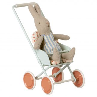 maileg stroller micro sky blue buggy